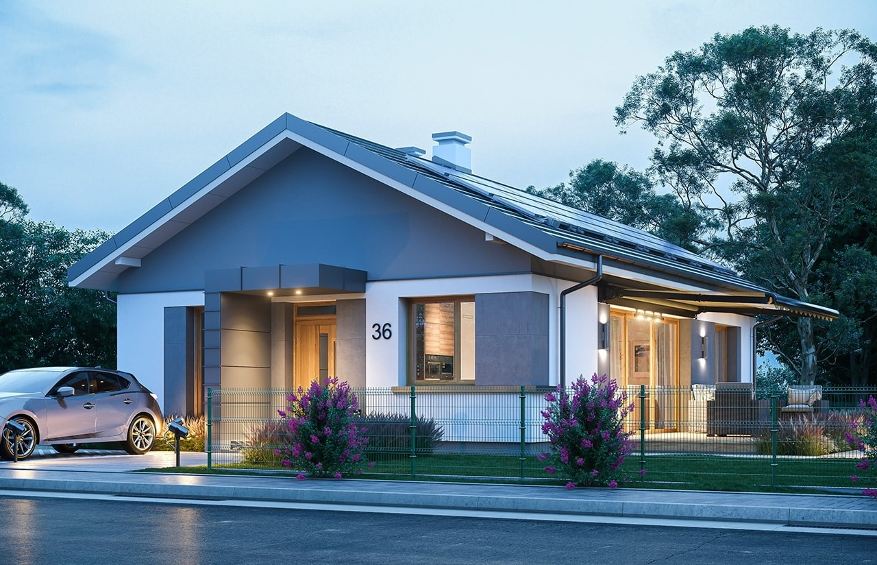 Projekt domu Dom na przytulnej - wizualizacja frontu