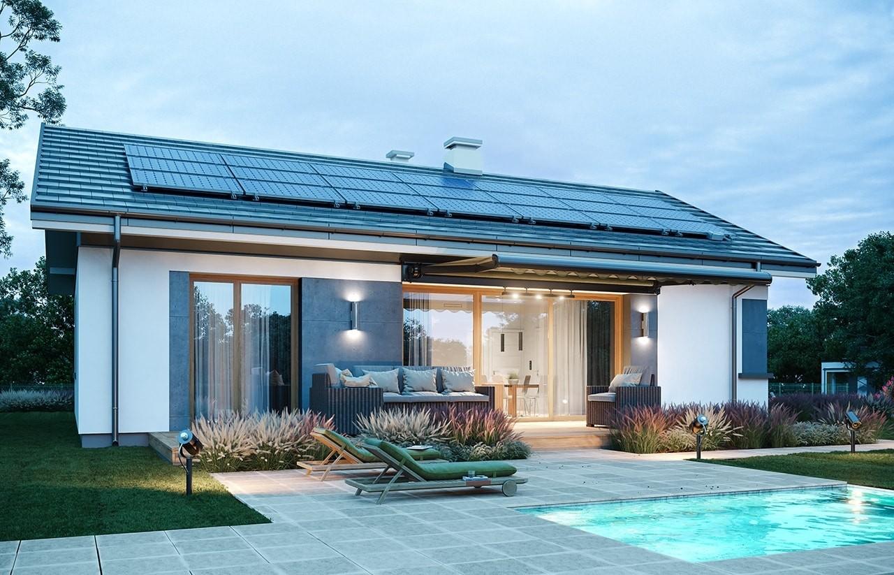 Projekt domu Dom na przytulnej - wizualizacja ogrodowa odbicie lustrzane