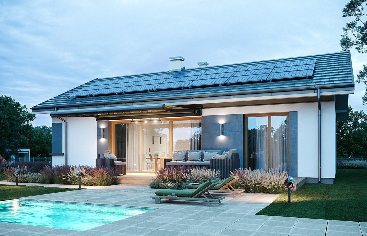 Projekt domu Dom na przytulnej - wizualizacja ogrodowa
