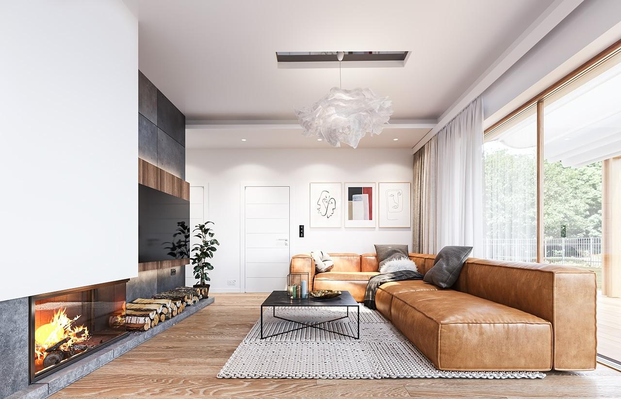 Projekt domu Dom na przytulnej - wizualizacja wnętrza