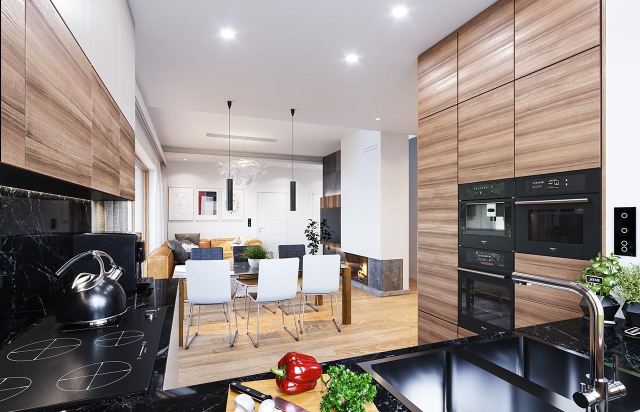 Projekt domu Dom na przytulnej - wizualizacja wnętrza odbicie lustrzane