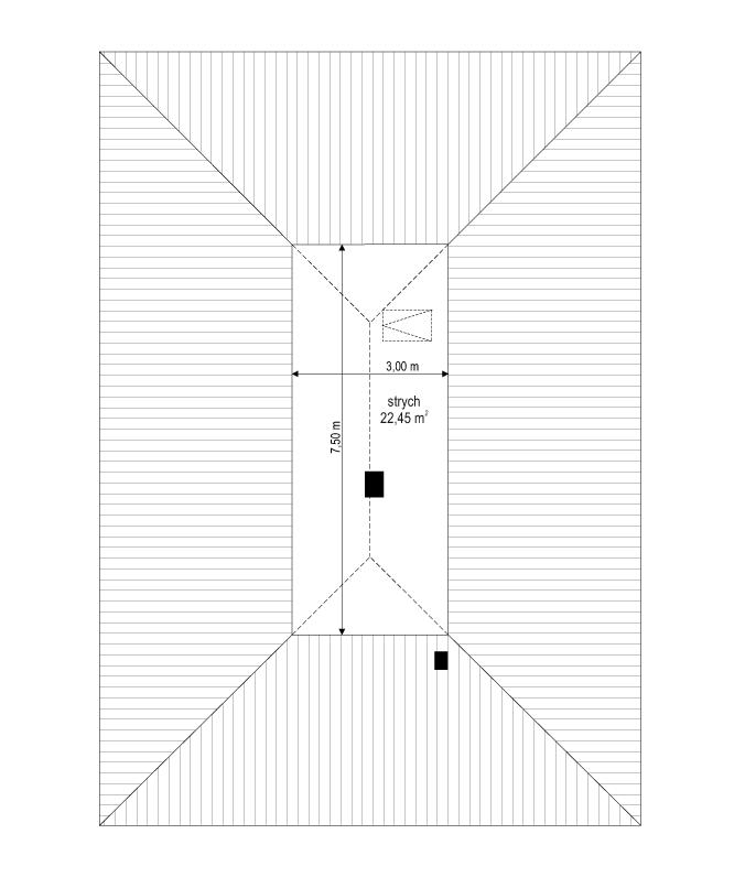 Projekt domu Dom na przytulnej 2 - rzut strychu odbicie lustrzane