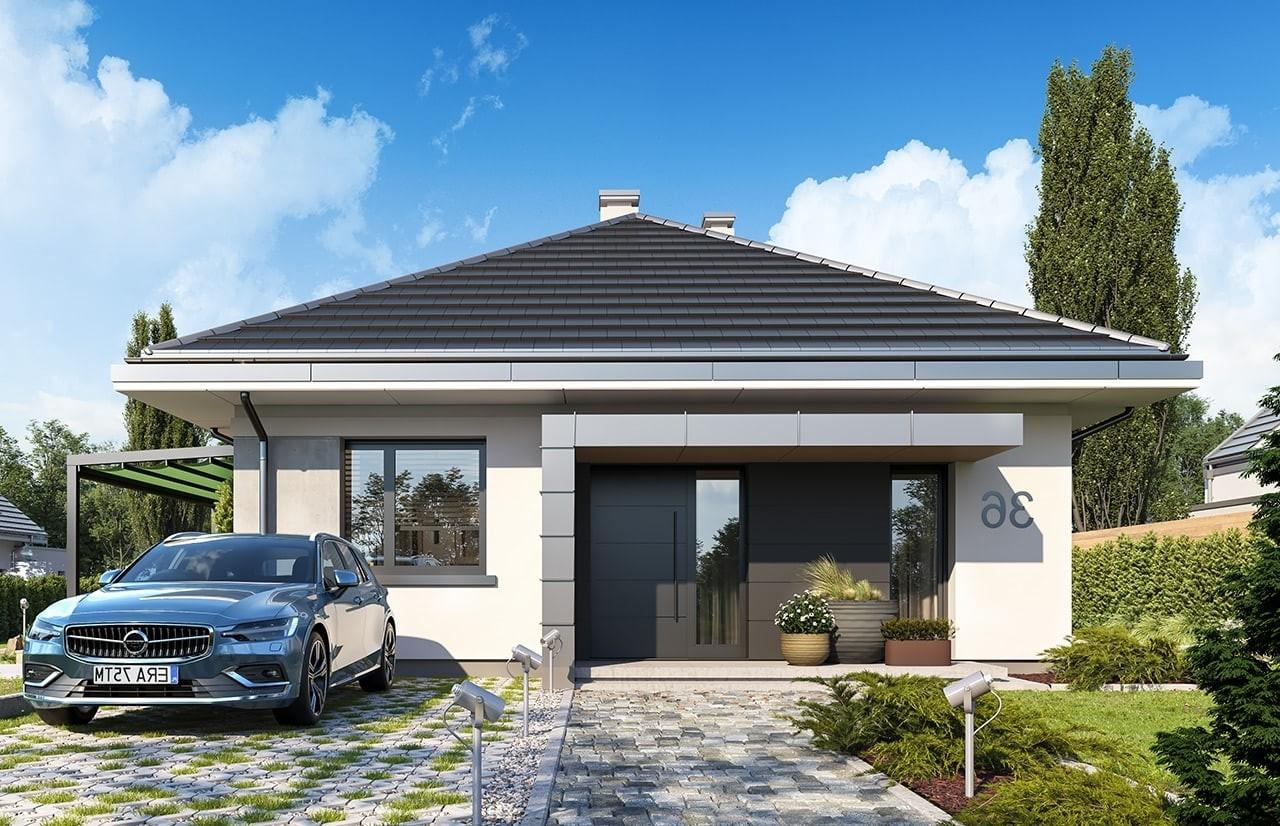 Projekt domu Dom na przytulnej 2 - wizualizacja frontu odbicie lustrzane