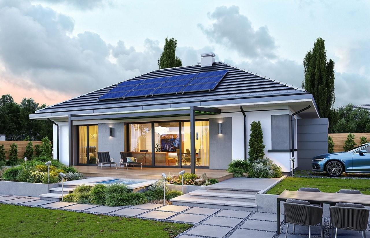 Projekt domu Dom na przytulnej 2 - wizualizacja ogrodowa odbicie lustrzane