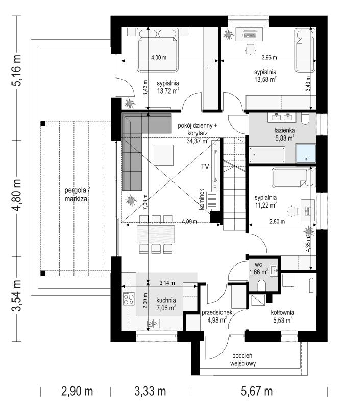Projekt domu Dom na przytulnej 3 - rzut parteru odbicie lustrzane