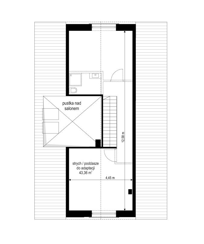 Projekt domu Dom na przytulnej 3 - rzut poddasza odbicie lustrzane