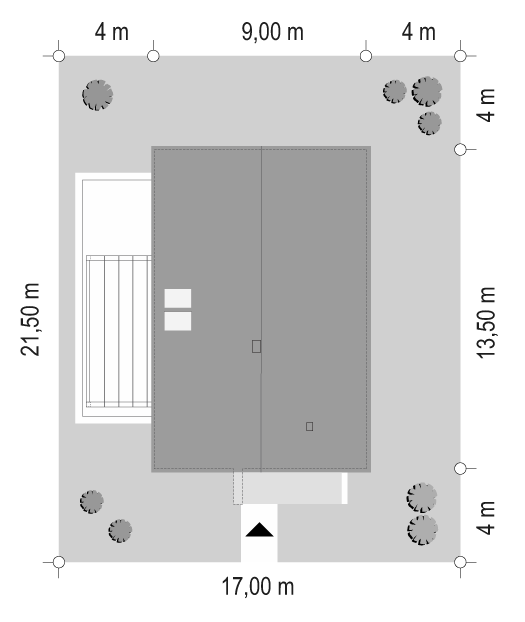 Projekt domu Dom na przytulnej 3 - sytuacja odbicie lustrzane