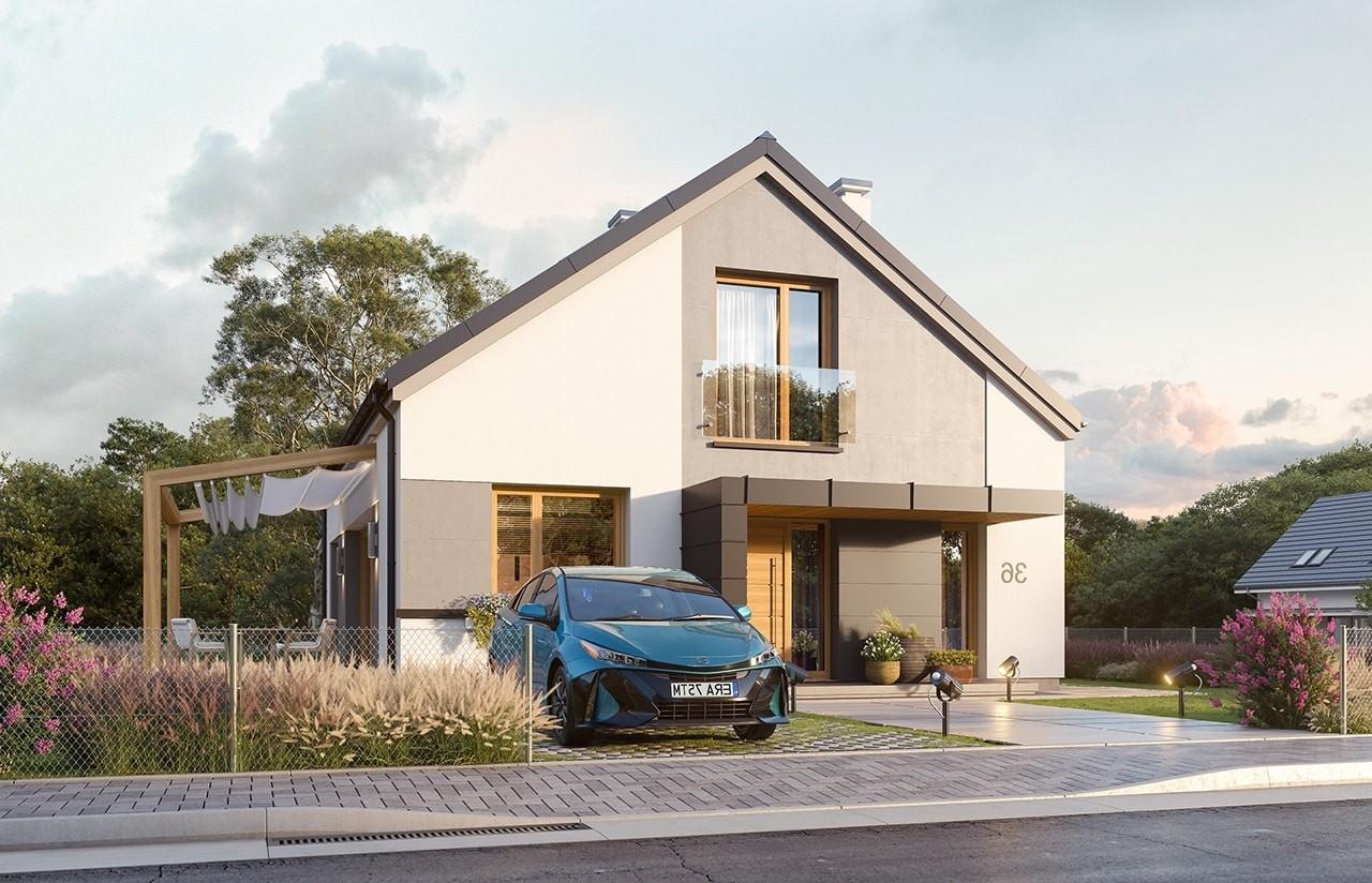 Projekt domu Dom na przytulnej 3 - wizualizacja frontu odbicie lustrzane