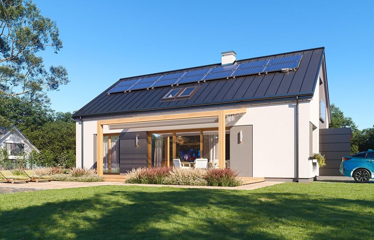 Projekt domu Dom na przytulnej 3 - wizualizacja ogrodowa odbicie lustrzane