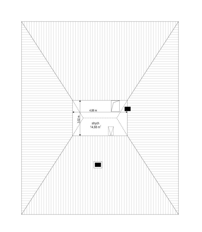 Projekt domu Dom na słonecznej - rzut strychu