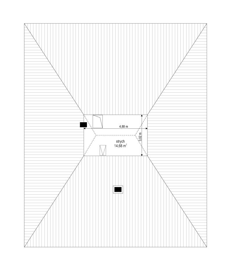 Projekt domu Dom na słonecznej - rzut strychu odbicie lustrzane