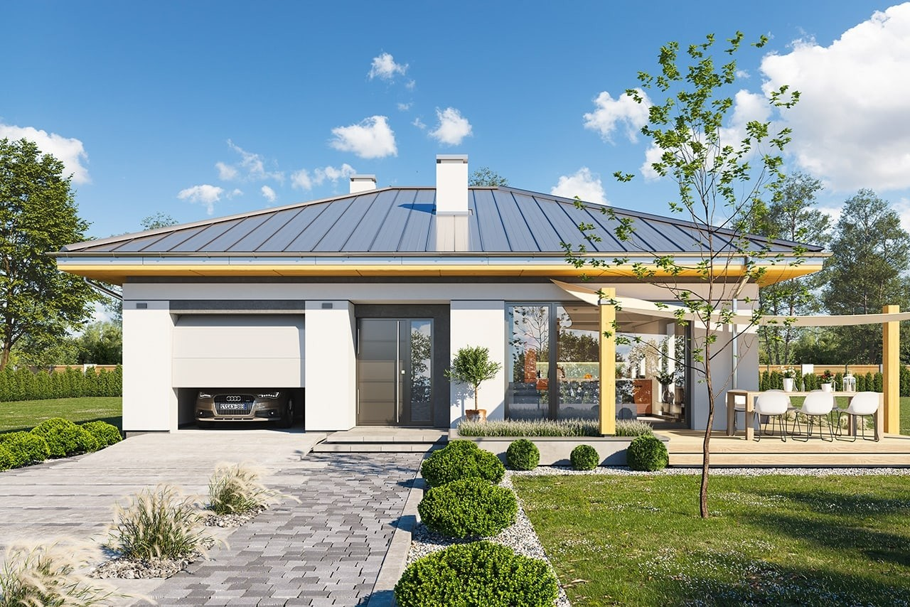 Projekt domu Dom na słonecznej - wizualizacja frontu odbicie lustrzane