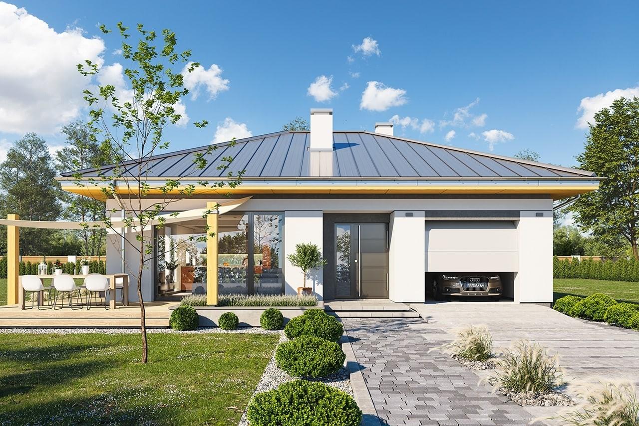 Projekt domu Dom na słonecznej - wizualizacja frontu