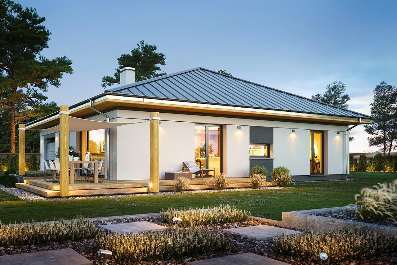 Projekt domu Dom na słonecznej - wizualizacja ogrodowa odbicie lustrzane