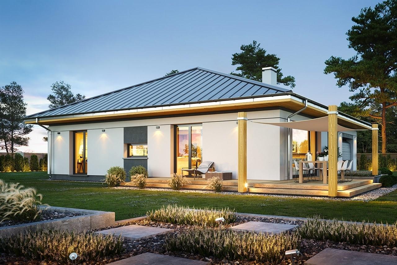 Projekt domu Dom na słonecznej - wizualizacja ogrodowa