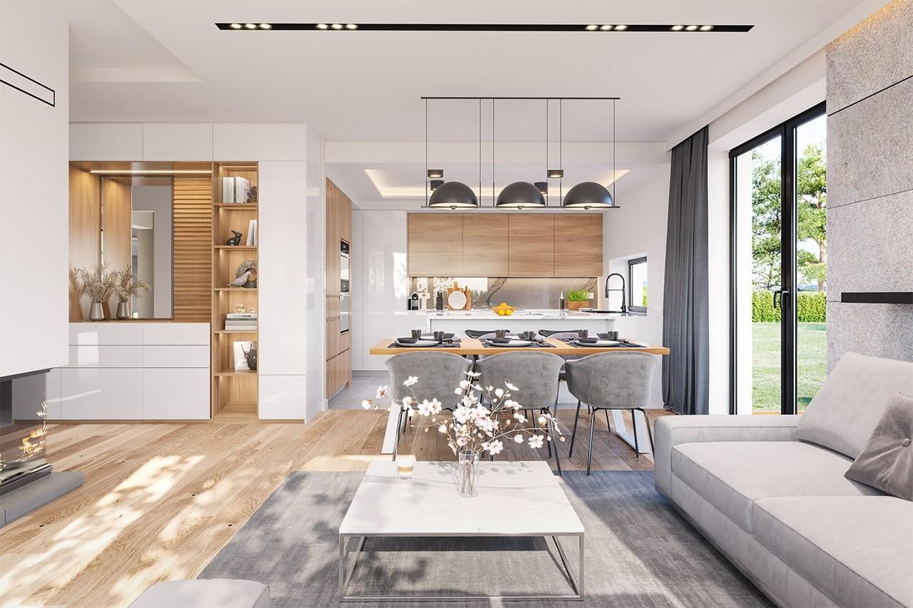Projekt domu Dom na słonecznej - wizualizacja wnętrza odbicie lustrzane