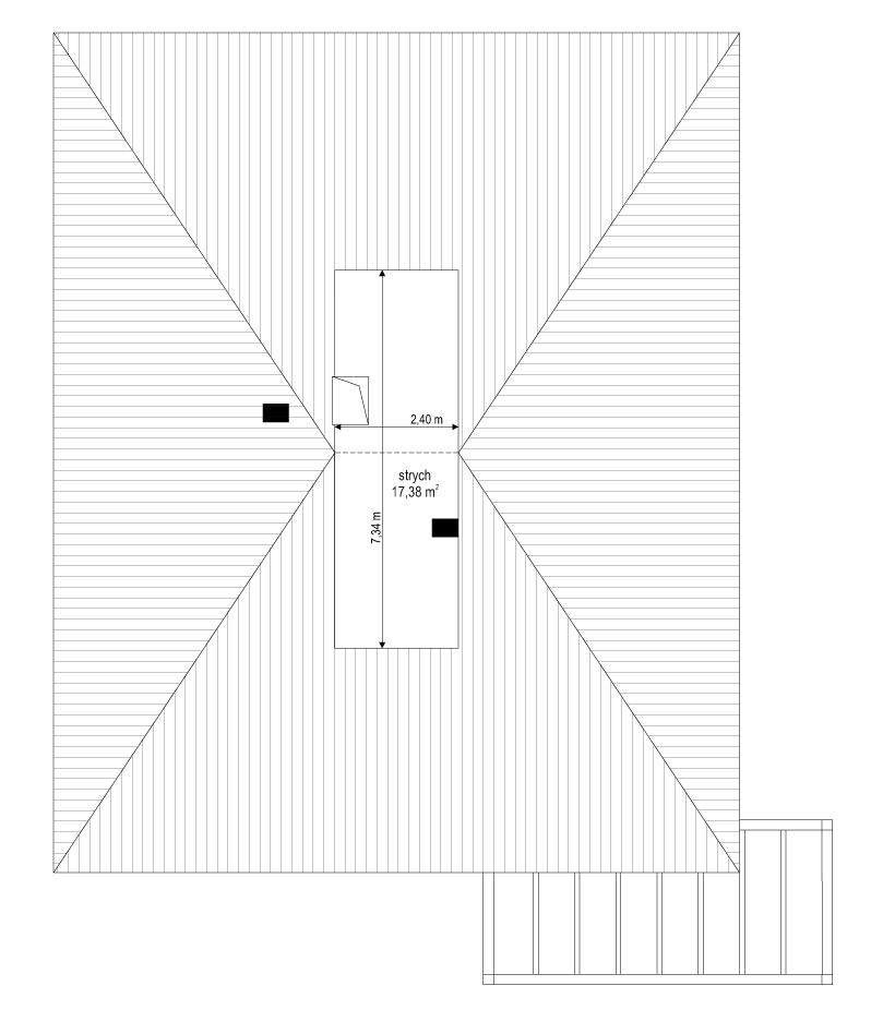 Projekt domu Dom na słonecznej 2 - rzut strychu odbicie lustrzane