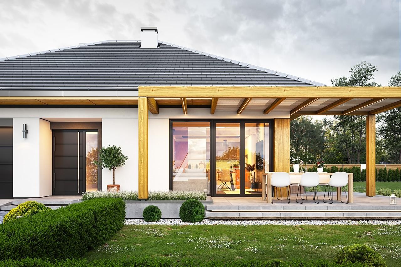 Projekt domu Dom na słonecznej 2 - wizualizacja frontu odbicie lustrzane