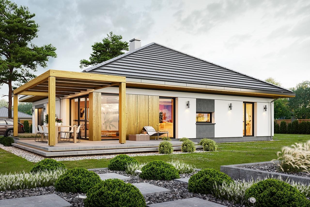 Projekt domu Dom na słonecznej 2 - wizualizacja ogrodowa odbicie lustrzane