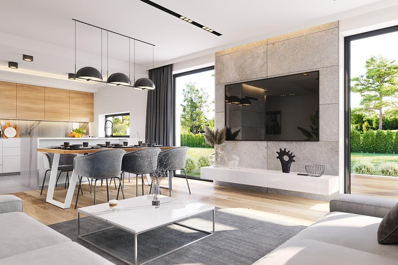 Projekt domu Dom na słonecznej 2 - wizualizacja wnętrza odbicie lustrzane