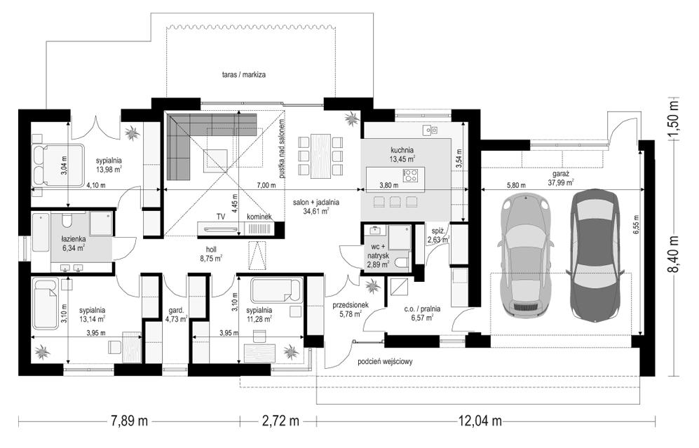 Projekt domu Dom na szerokiej - rzut parteru