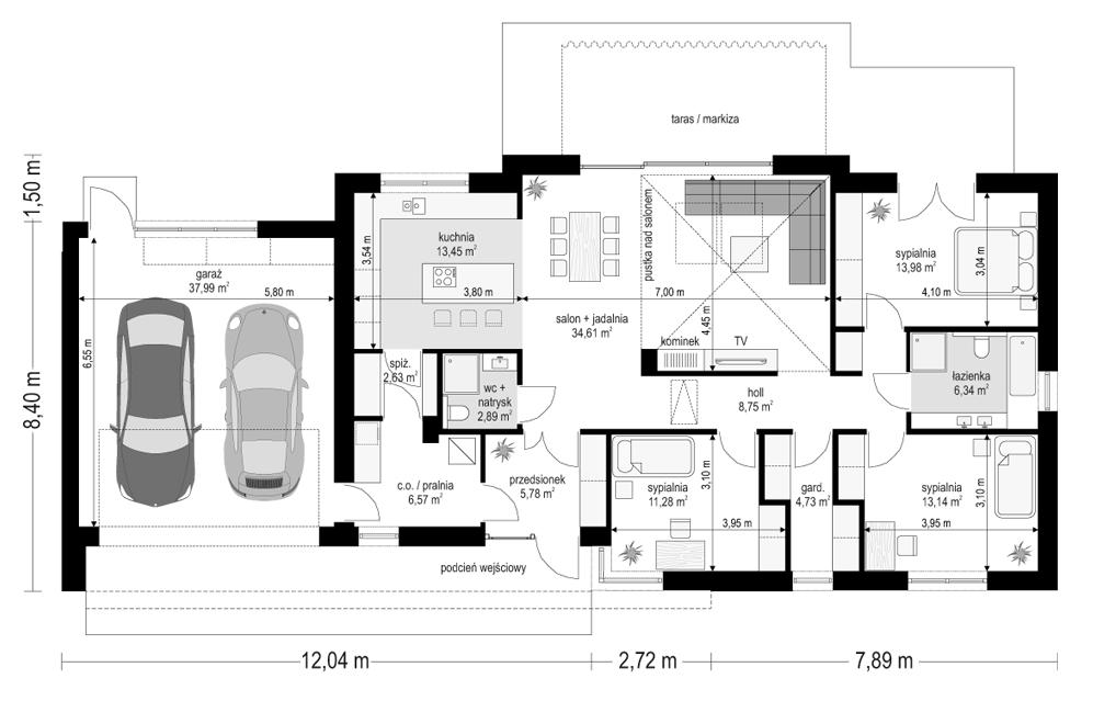 Projekt domu Dom na szerokiej - rzut parteru odbicie lustrzane