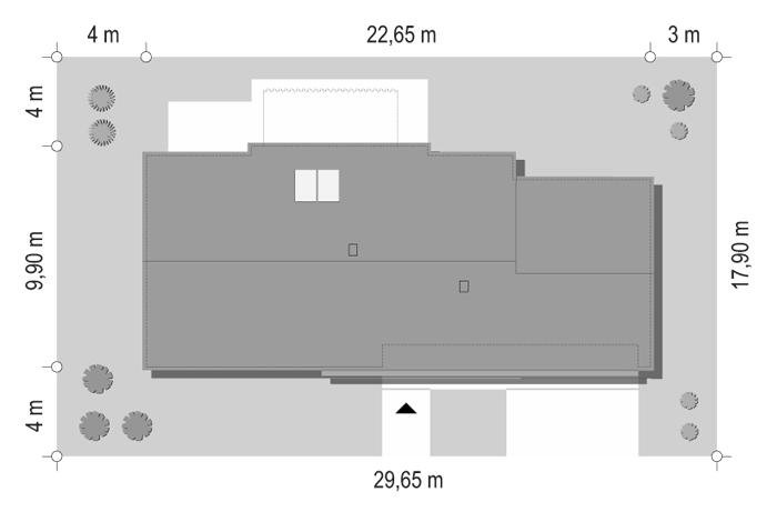 Projekt domu Dom na szerokiej - sytuacja