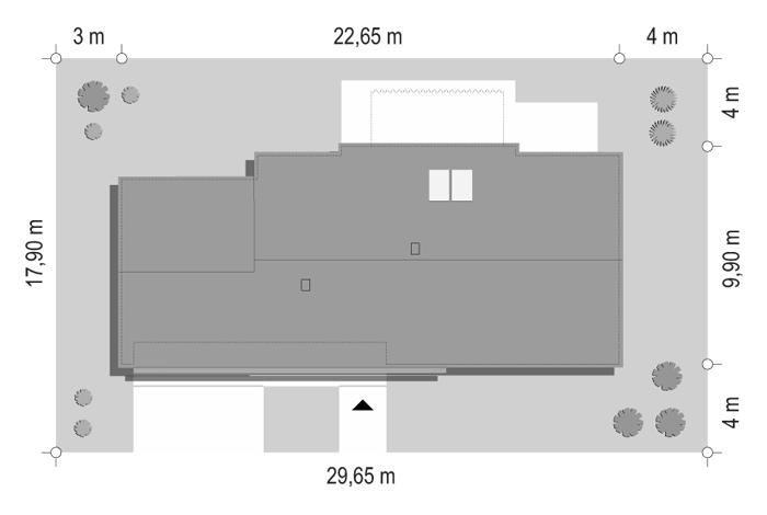 Projekt domu Dom na szerokiej - sytuacja odbicie lustrzane
