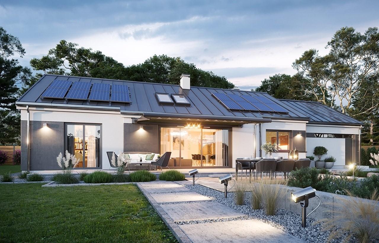 Projekt domu Dom na szerokiej  wizualizacja ogrodowa odbicie lustrzane
