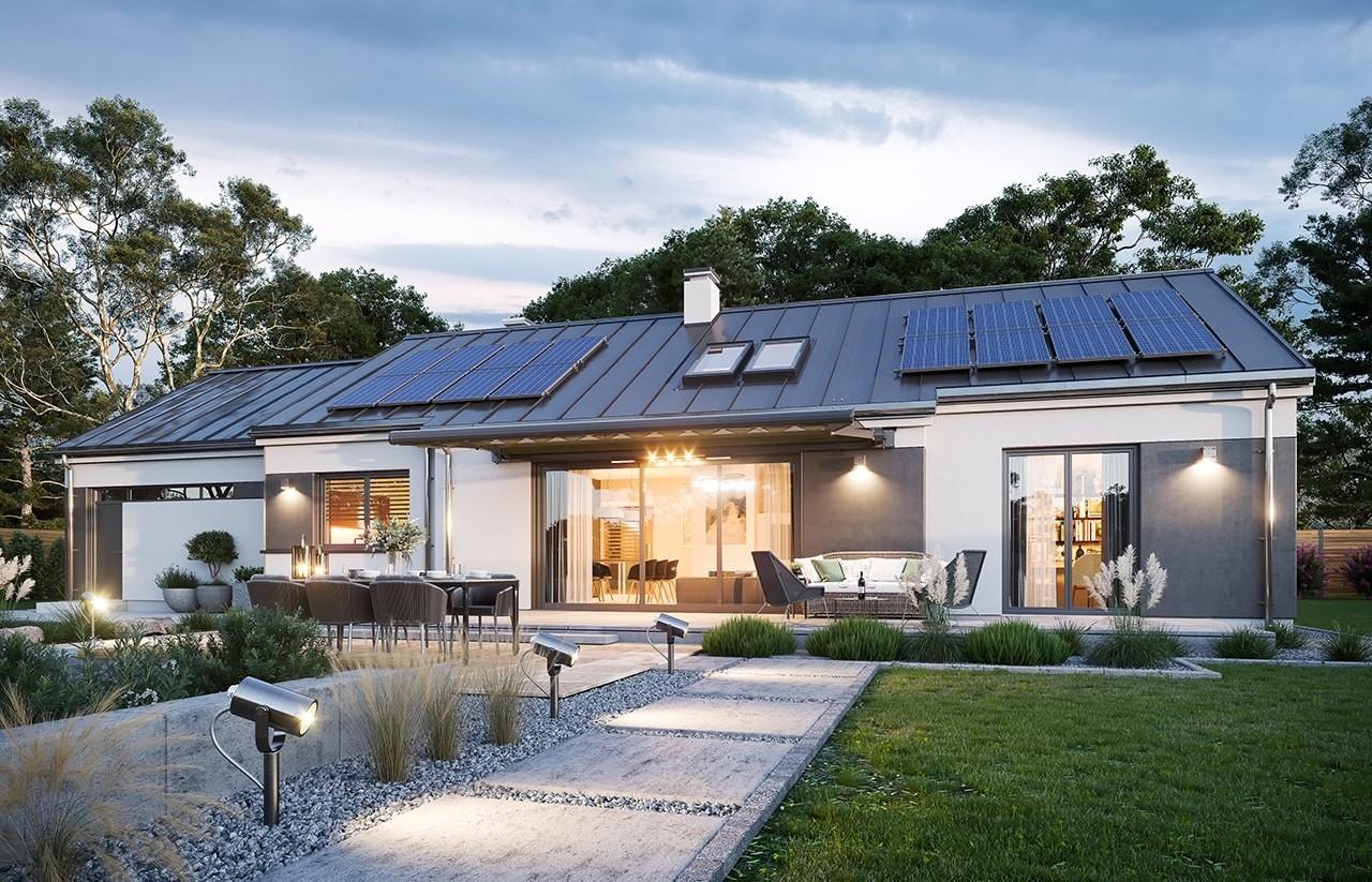Projekt domu Dom na szerokiej  wizualizacja ogrodowa