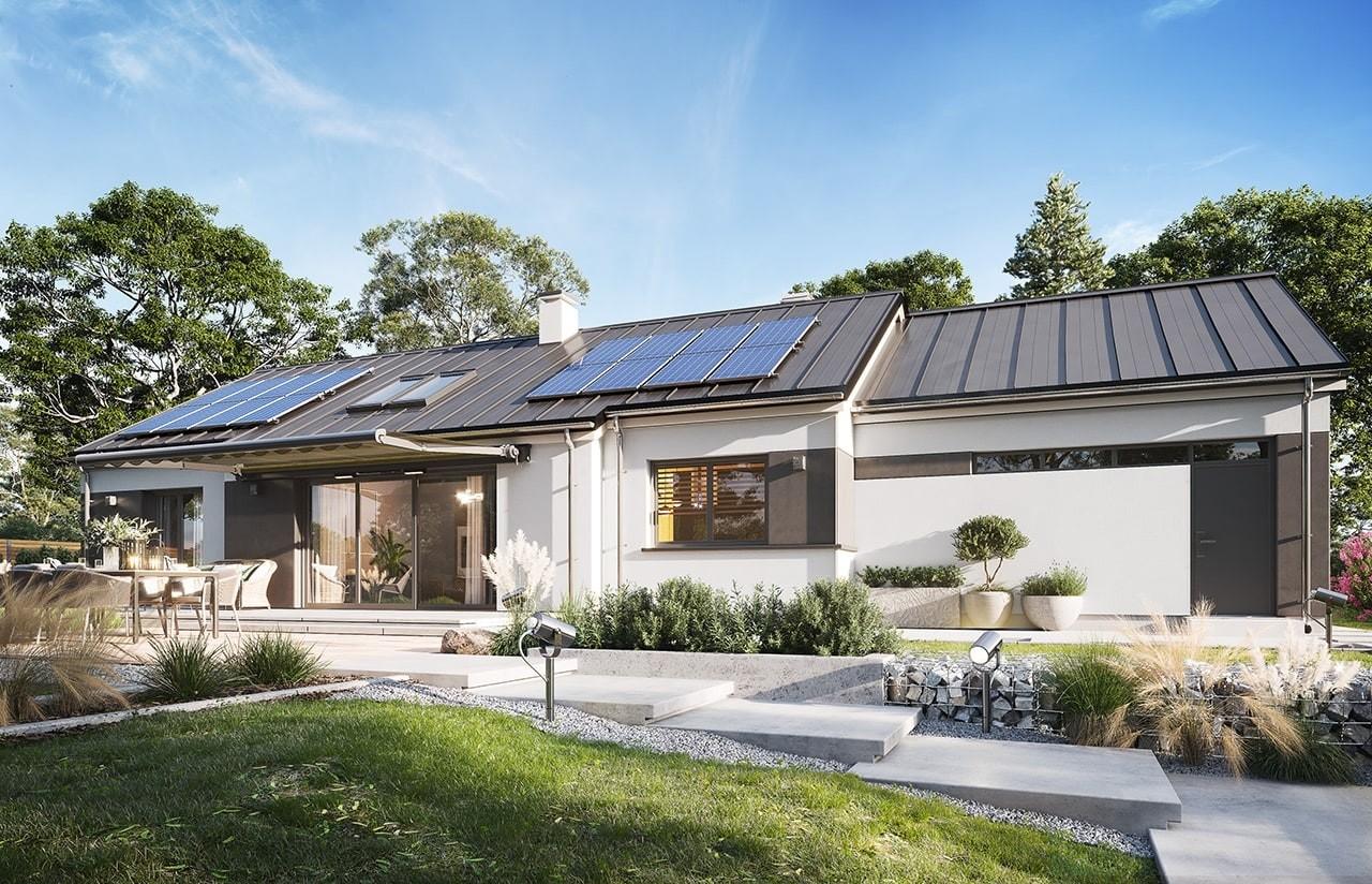 Projekt domu Dom na szerokiej  wizualizacja ogrodowa 2 odbicie lustrzane