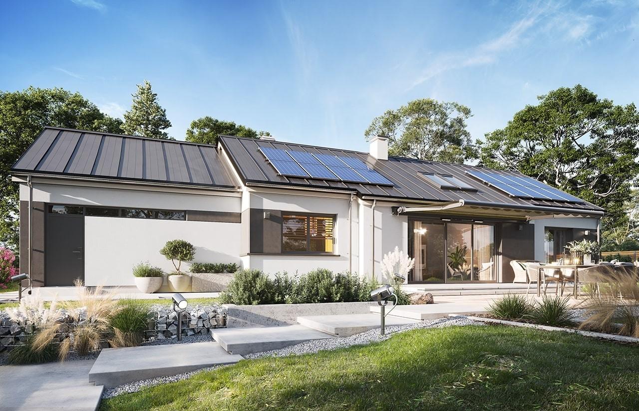 Projekt domu Dom na szerokiej  wizualizacja ogrodowa 2