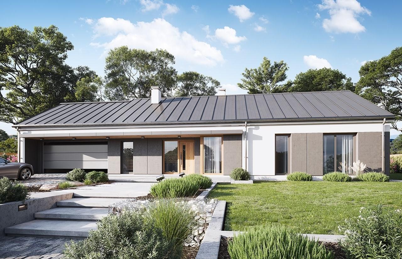 Projekt domu Dom na szerokiej wizualizacja frontu 2 odbicie lustrzane
