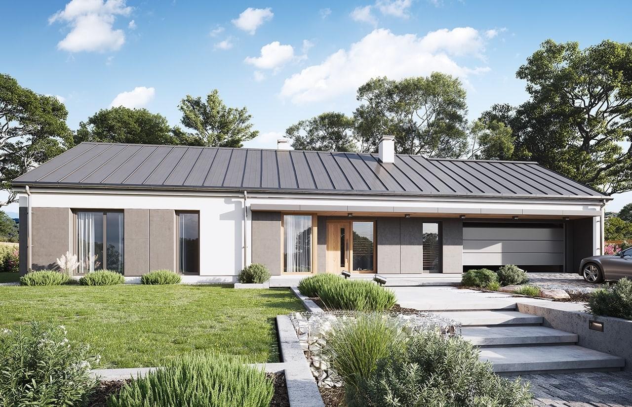 Projekt domu Dom na szerokiej wizualizacja frontu 2