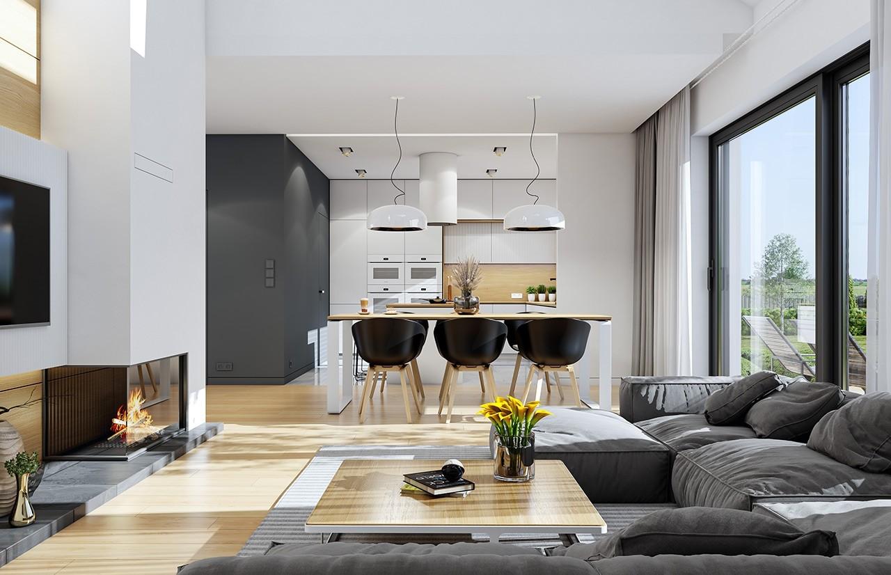 Projekt domu Dom na szerokiej - wizualizacja wnętrza odbicie lustrzane