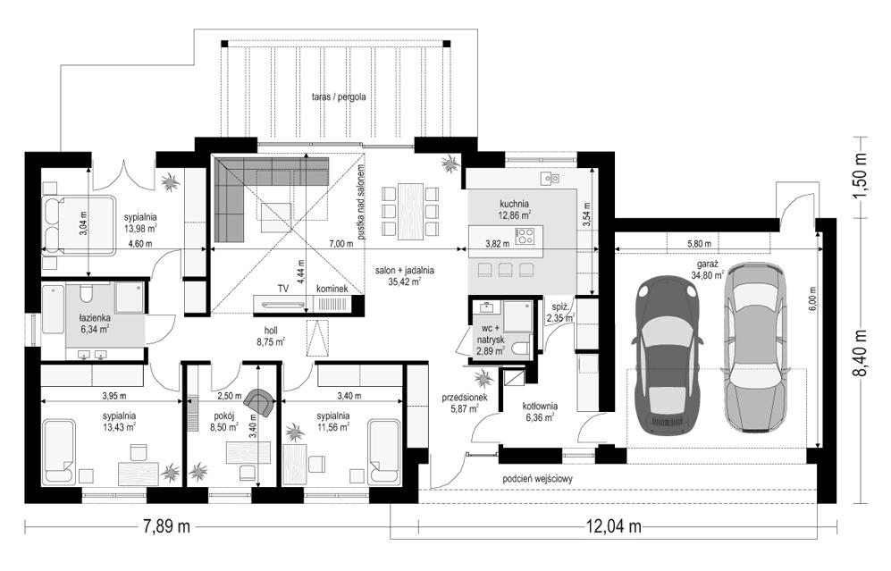 Projekt domu Dom na szerokiej 2 - rzut parteru