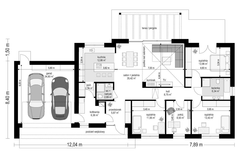 Projekt domu Dom na szerokiej 2 - rzut parteru odbicie lustrzane