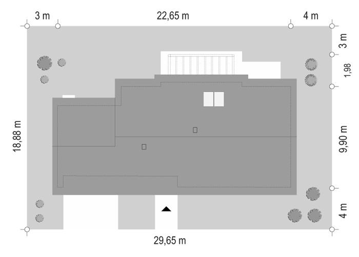 Projekt domu Dom na szerokiej 2 - sytuacja odbicie lustrzane