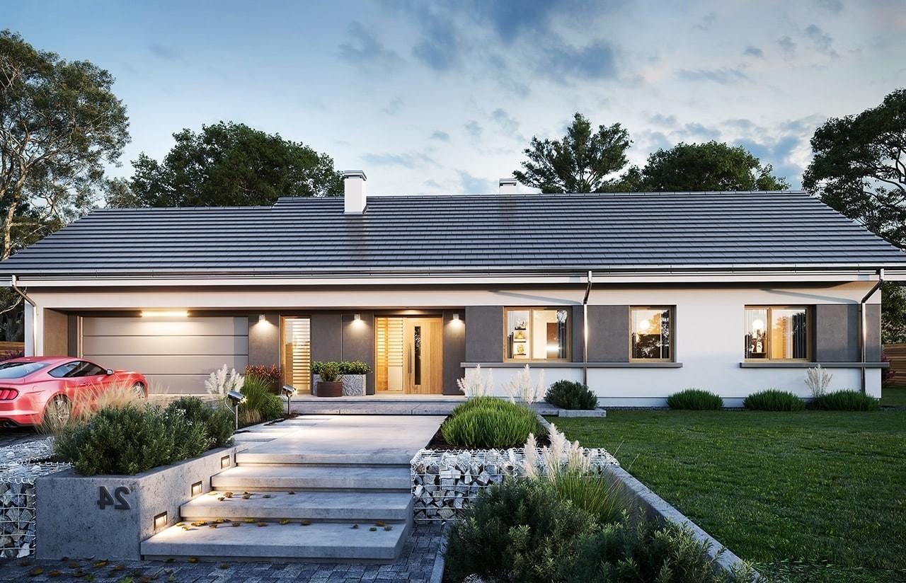 Projekt domu Dom na szerokiej 2 wizualizacja frontu odbicie lustrzane