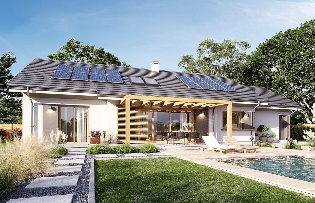 Projekt domu Dom na szerokiej 2 wizualizacja ogrodowa 2 odbicie lustrzane