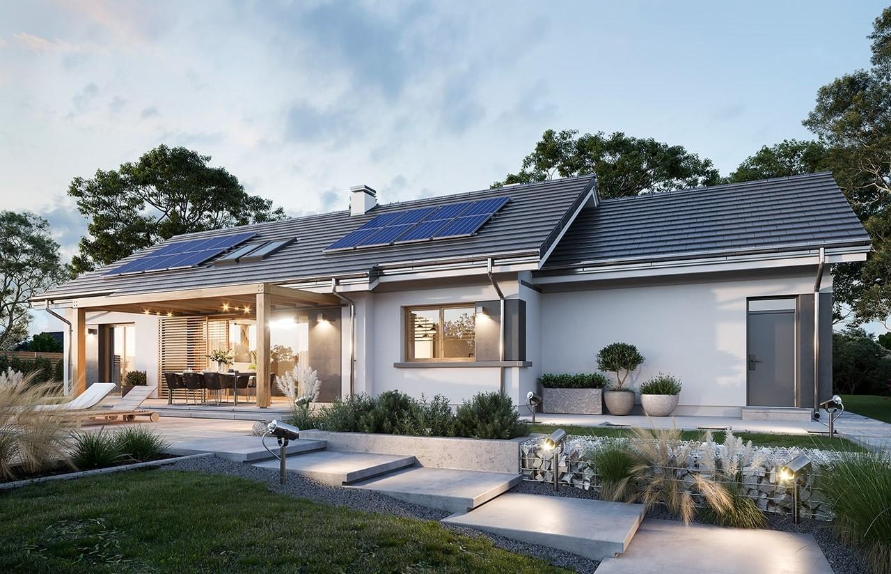 Projekt domu Dom na szerokiej 2 wizualizacja ogrodowa odbicie lustrzane