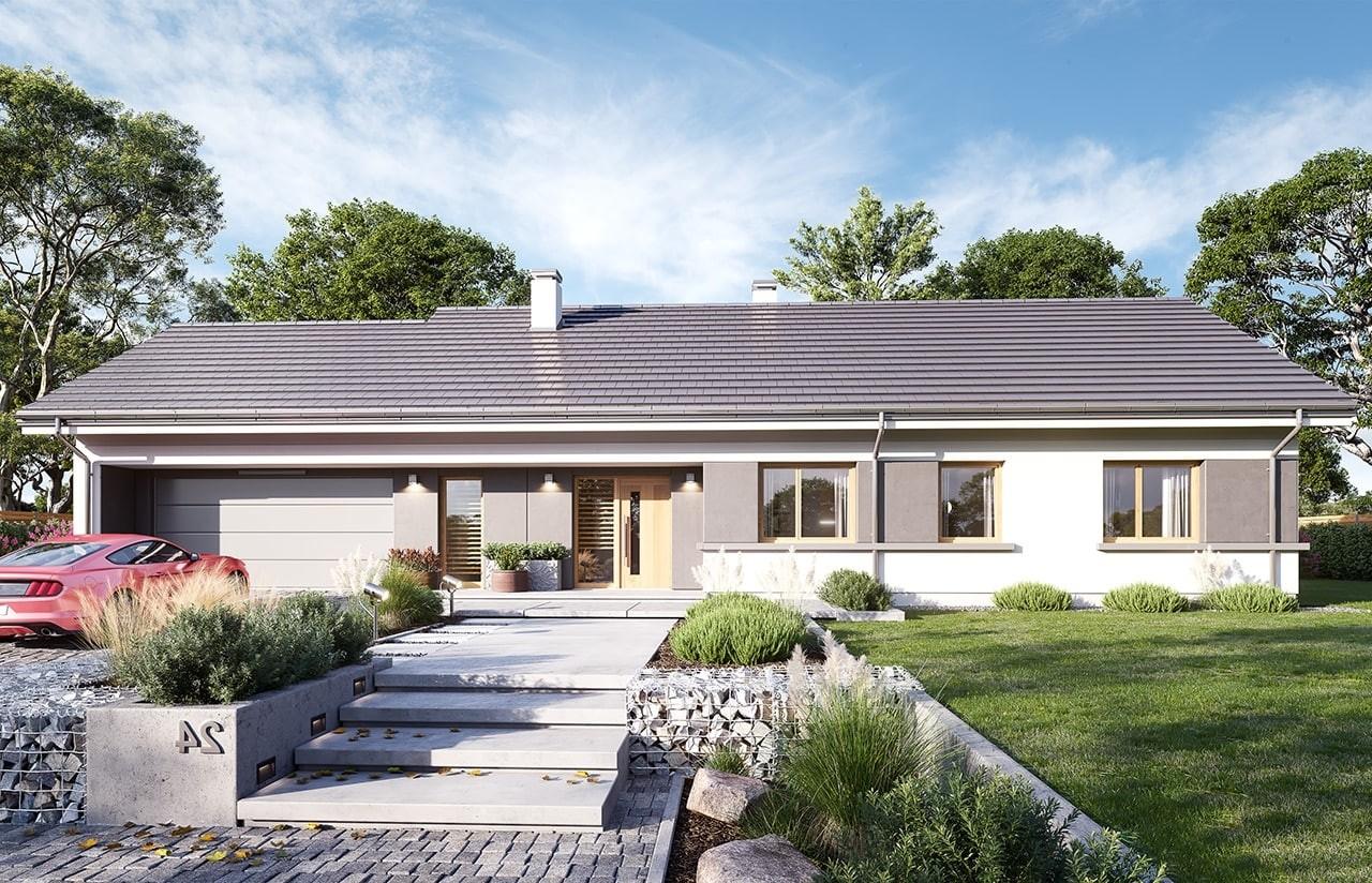 Projekt domu Dom na szerokiej 2 wizualizacja frontu 2 odbicie lustrzane