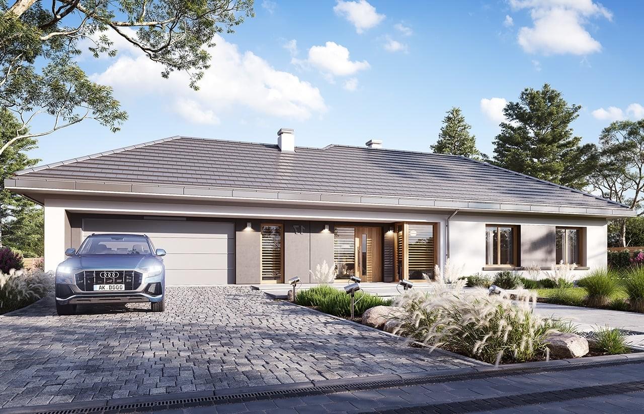 Projekt domu Dom na szerokiej 3 wizualizacja frontu odbicie lustrzane