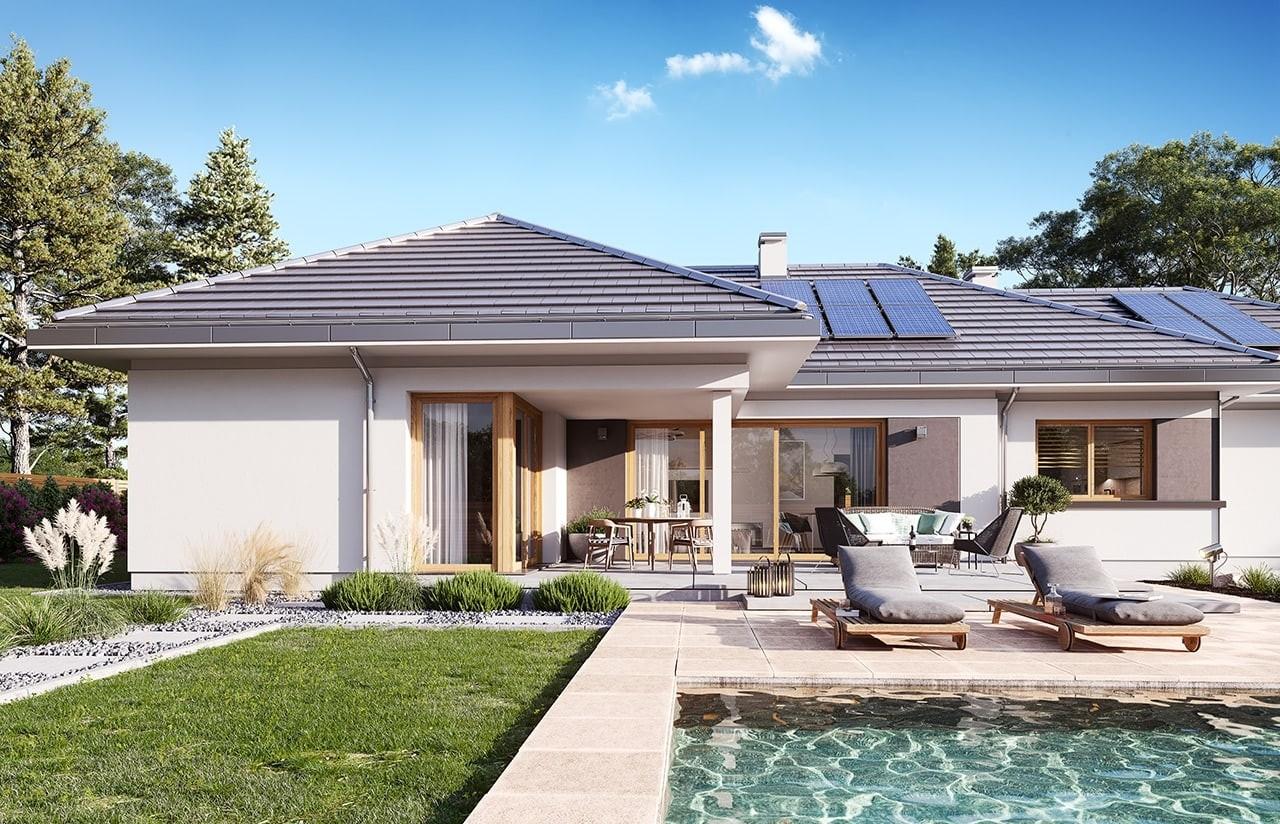 Projekt domu Dom na szerokiej 3 wizualizacja ogrodowa odbicie lustrzane