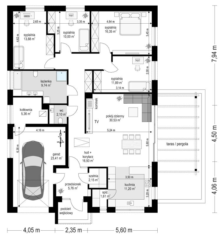Projekt domu Dom na Wygodnej - rzut parteru