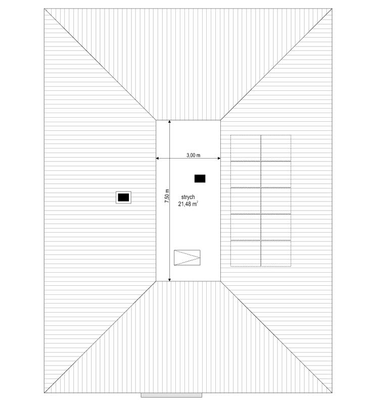 Projekt domu Dom na Wygodnej - rzut strychu