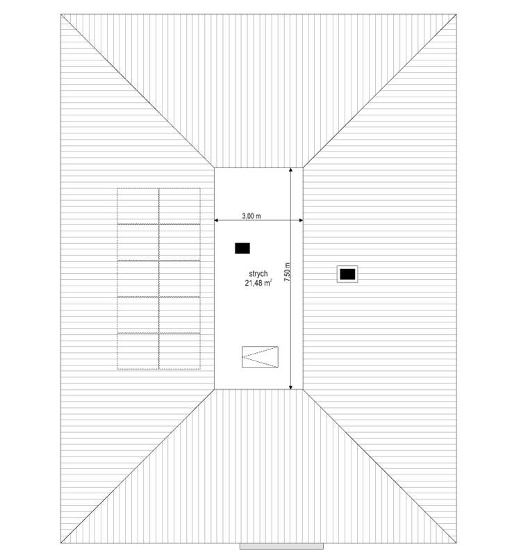 Projekt domu Dom na Wygodnej - rzut strychu odbicie lustrzane