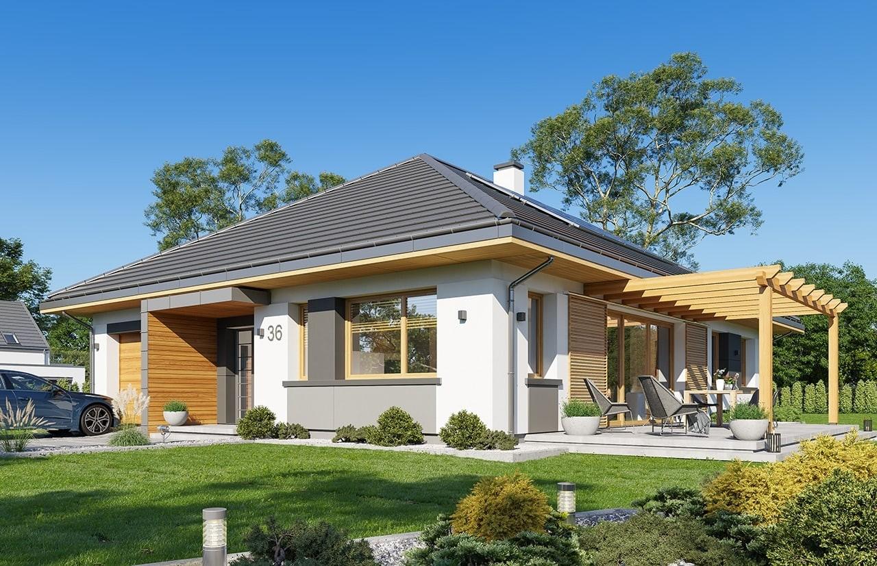 Projekt domu Dom na Wygodnej - wizualizacja frontu