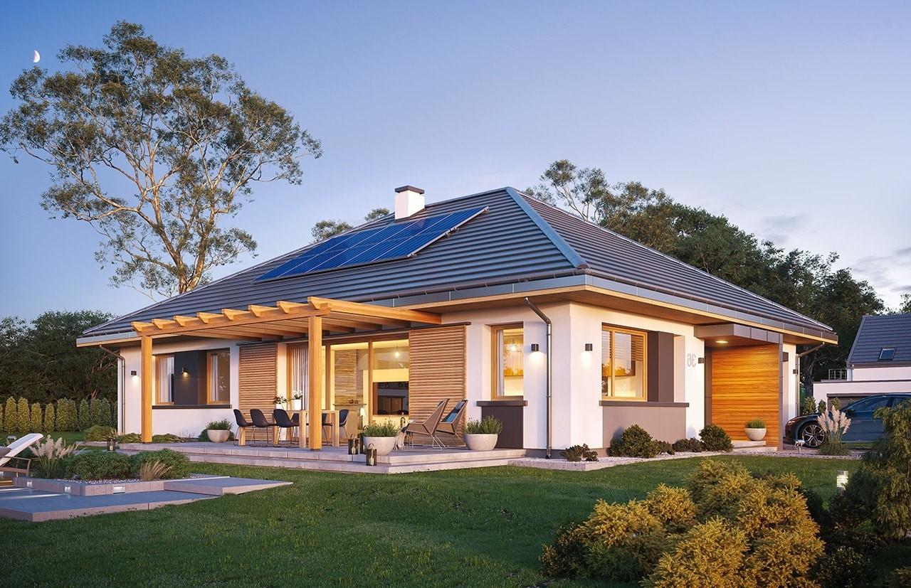 Projekt domu Dom na Wygodnej - wizualizacja ogrodowa odbicie lustrzane