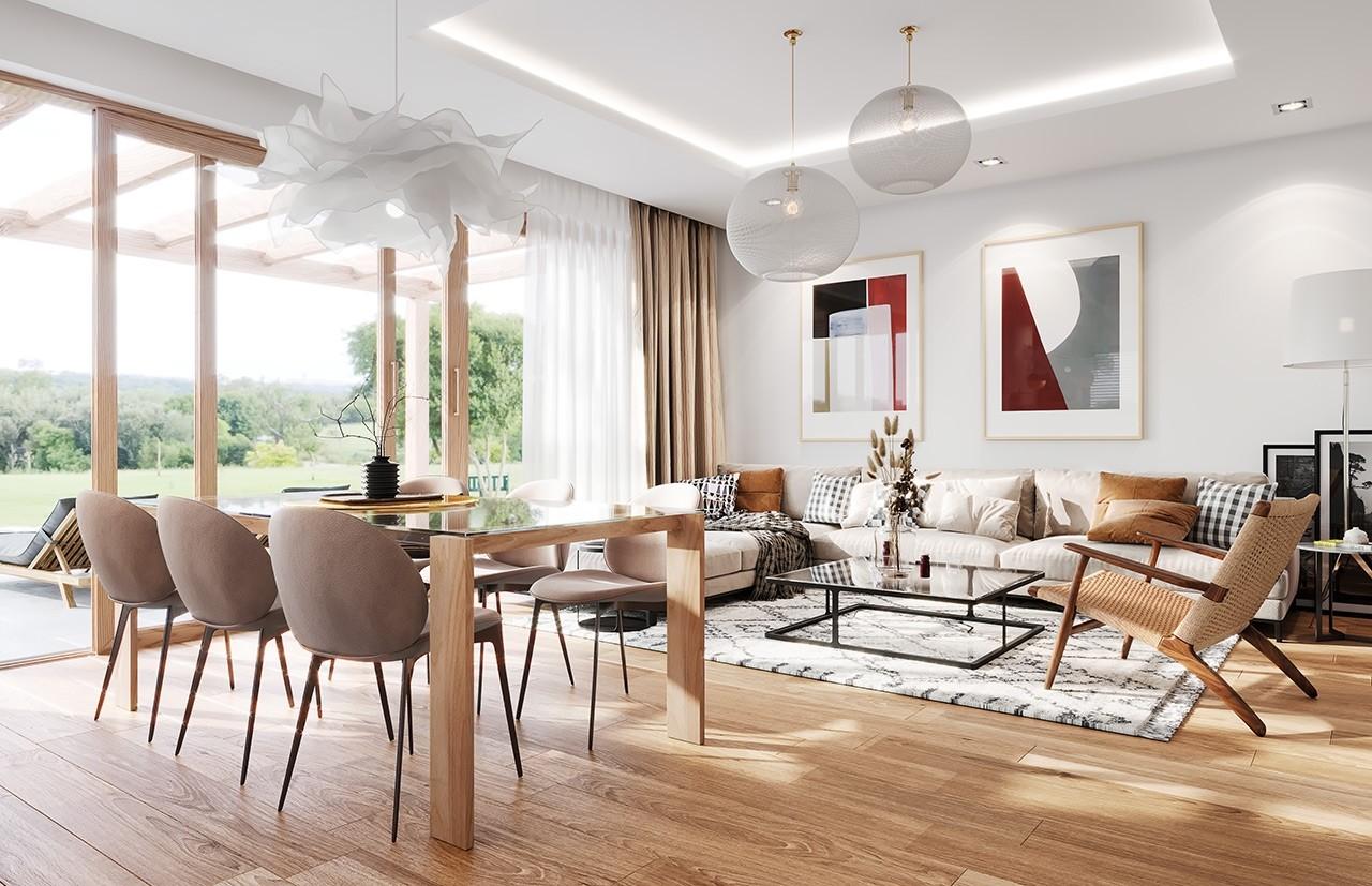 Projekt domu Dom na Wygodnej - wizualizacja wnętrza odbicie lustrzane